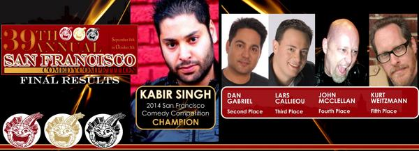 Kabir Singh wins 2014 San Francisco Comedy Competition