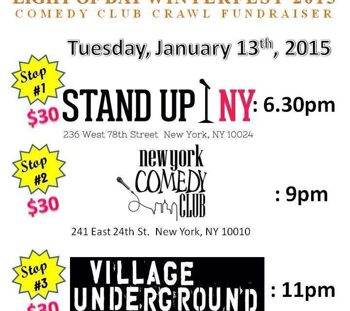 Join tonight's NYC Comedy Club Crawl and raise money to fight Parkinson's