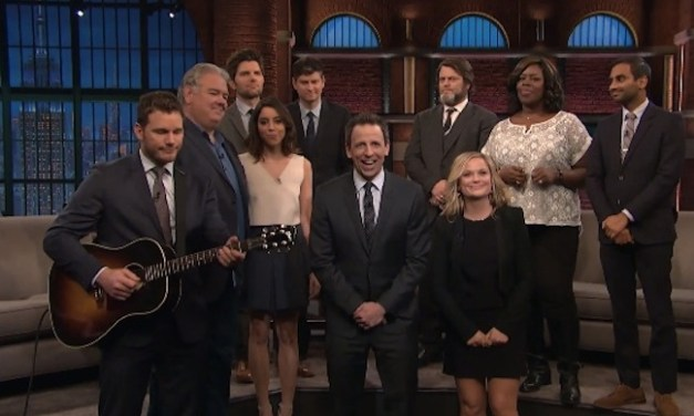 The cast of NBC's Parks and Recreation debriefs post-finale on Late Night with Seth Meyers