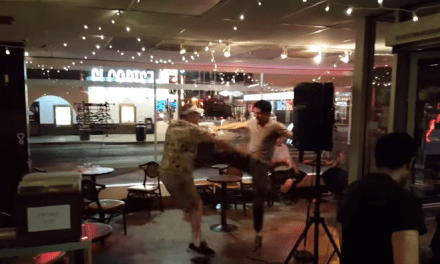 Open mic host kicks open micer to ground during Las Vegas show