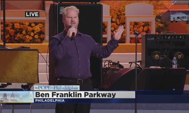 Jim Gaffigan live at the Festival of Families in Philadelphia, warming up the audience for Pope Francis