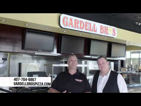 "Billy Gardell, his brother and his father in TV ads for ""Gardell Bros Pizza"""