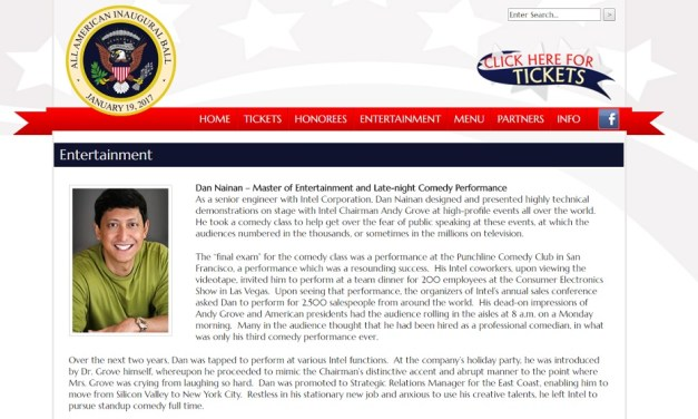 "Dan Nainan booked to perform for Donald Trump's ""All-American Inaugural Ball"""