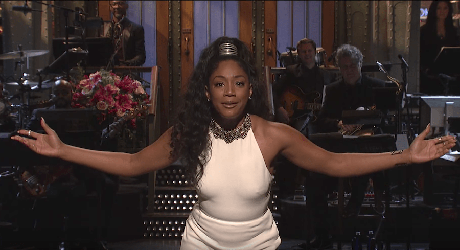 Tiffany Haddish performs stand-up for her Saturday Night Live monologue