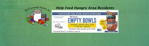 Join us for our Empty Bowls fundraiser. Buy a bowl and enjoy some soup, dessert and breads.
