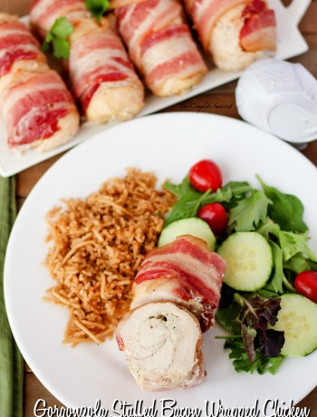 Gorgonzola Stuffed Bacon Wrapped Chicken ~ Paillard style chicken layered with gorgonzola cheese, rolled, and wrapped in bacon ~ The Complete Savorist by Michelle De La Cerda
