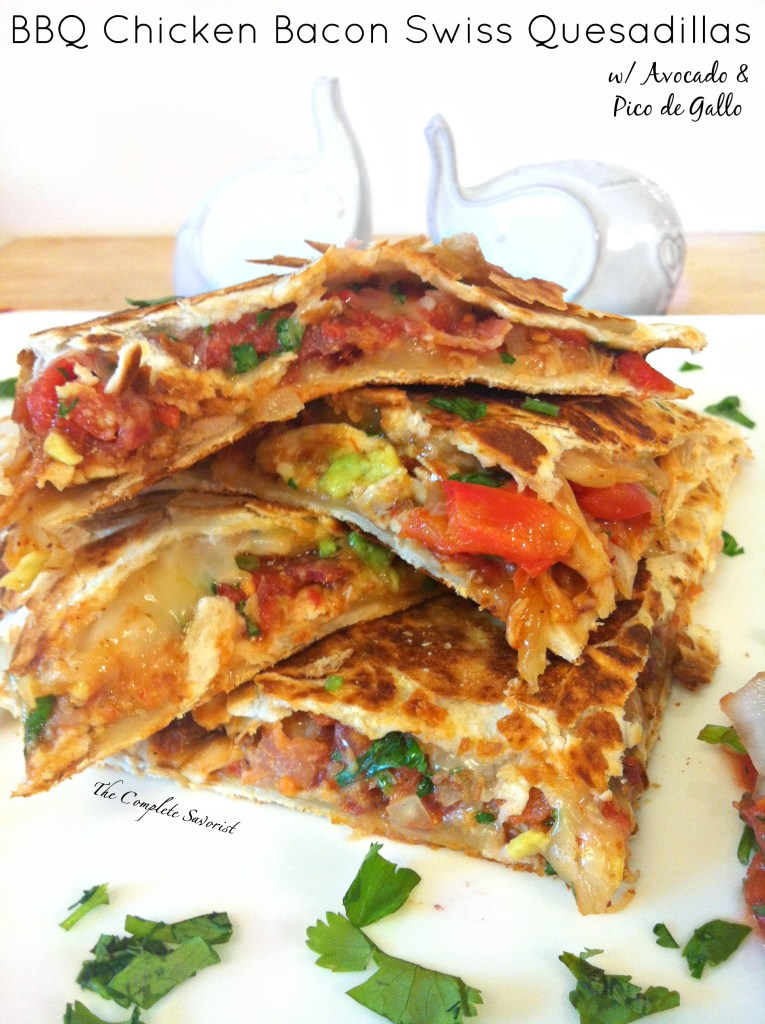 BBQ Chicken Bacon Swiss Quesadillas ~ Big name for a simple, easy, and quick dish, layered with pico de gallo, bacon, smoked Swiss cheese, avocado, and BBQ chicken between two flour tortillas ~ The Complete Savorist