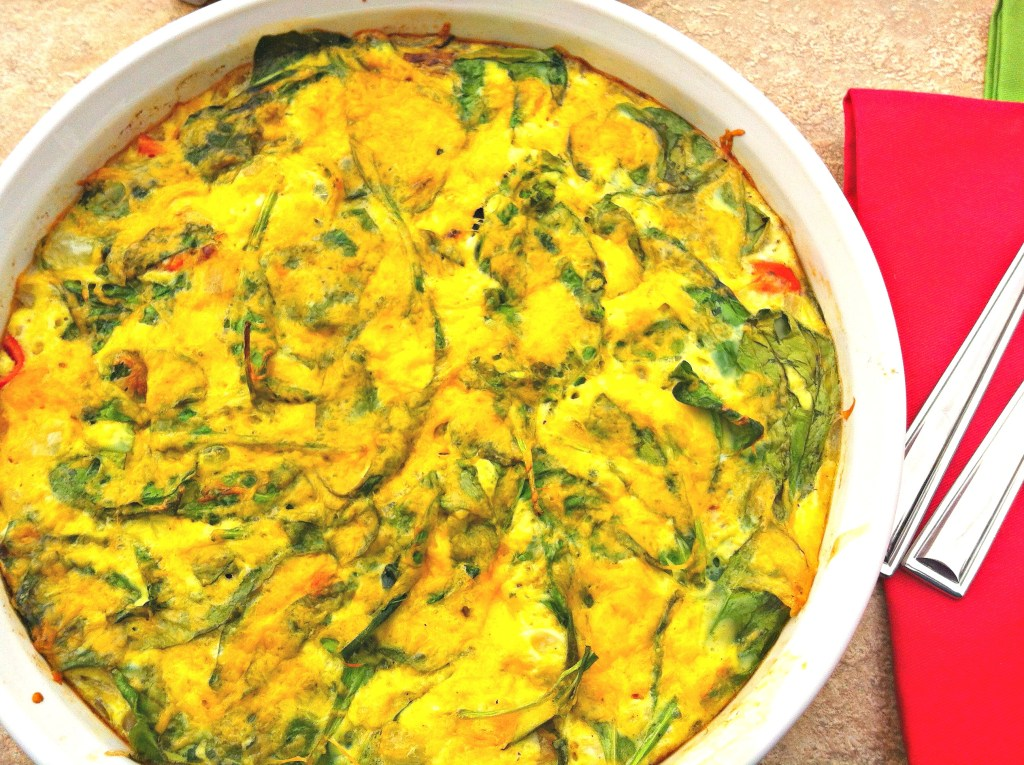 Frittata Florentine ~ Whisked eggs baked with spinach, onions, peppers and covered in cheese ~ The Complete Savorist