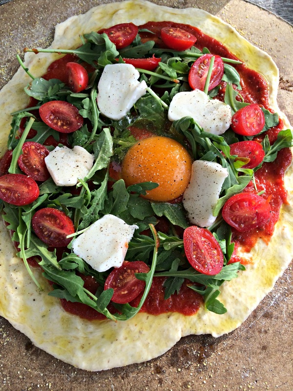 Egg in the middle for Tomato and Arugula Pizza ~ The Complete Savorist
