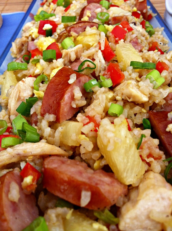 Aloha Fried Rice ~ A sweet, tangy, and tropical twist on fried rice with pineapple, chicken, sweet red peppers, and smoked sausage  ~ The Complete Savorist