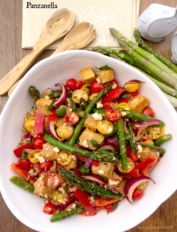 Panzanella ~ The classic Tuscan bread salad updated with seasonally fresh asparagus in a mildly tangy balsamic dressing ~ The Complete Savorist by Michelle De La Cerda