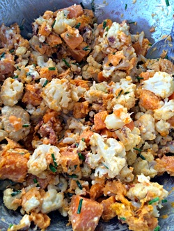 Making Bacon and Bleu Roasted Cauliflower and Sweet Potatoes ~ The Complete Savorist