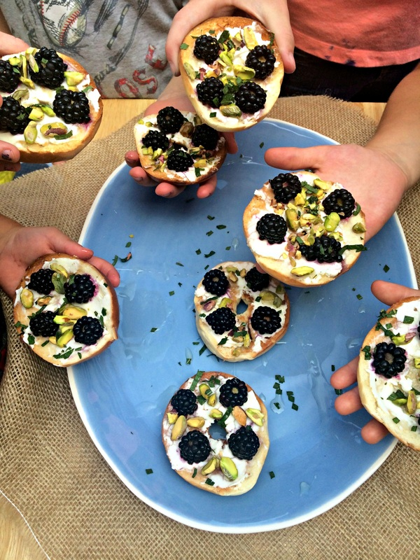 Blackberry Pistachio Mini Bagels ~ The Complete Savorist