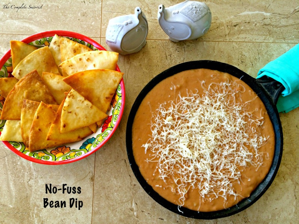 No-Fuss Bean Dip ~ The classic party dip quickly made at home using ingredients probably found in your pantry ~ The Complete Savorist