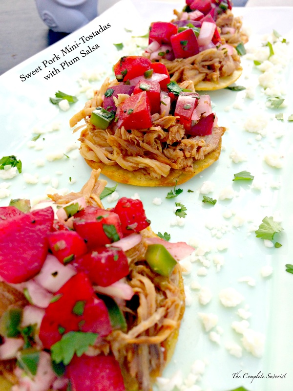 Sweet Pork Mini Tostadas with Plum Salsa ~ Slow cooked pork in a sweet sauce, shredded for mini tostadas and garnished with fresh plum salsa.