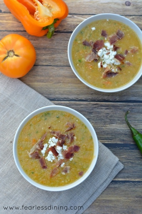 Yellow Heirloom and Tomatillo Gazpacho by Fearless Dining ~ The Complete Savorist