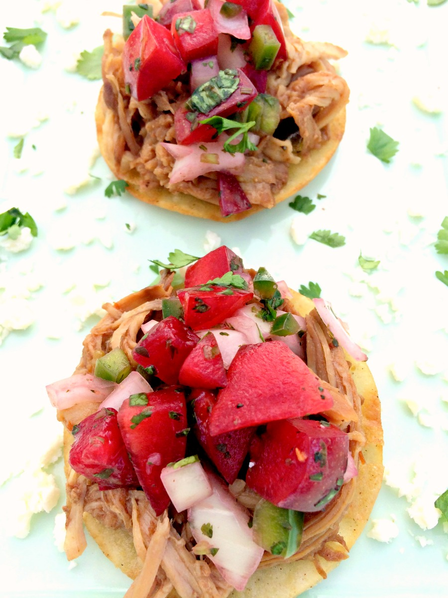 Sweet Pork Mini Tostadas with Plum Salsa ~ Slow cooked pork in a sweet sauce, shredded for mini tostadas and garnished with fresh plum salsa ~ The Complete Savorist