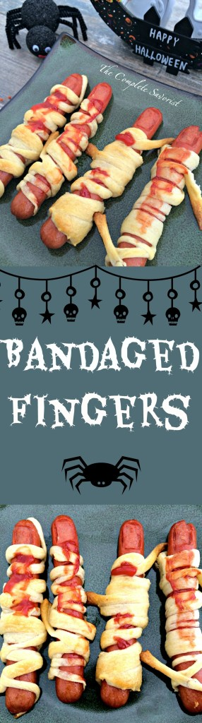 Bandaged Fingers Halloween Hot Dogs - Creepy looking hot dogs cut into fingers, wrapped in delicious crescent rolls and covered in ketchup, perfect for your holiday party or for just freaking out your kids.