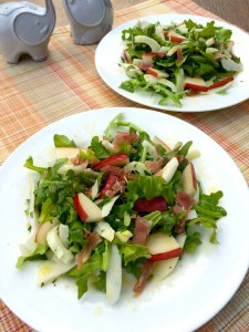 A wonderfully light salad that melds the tastes of pear, arugula, fennel, and prosciutto together in perfect unison.