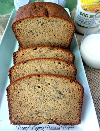 Boozy Eggnog Banana Bread ~ Love eggnog over the holidays? Enjoy the taste all year long with this banana bread made with traditional eggnog fortified with rum and brandy.