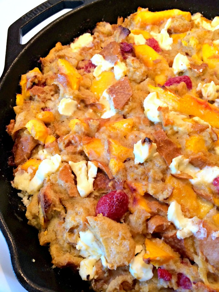 Peach and Raspberry Bread Pudding ~ The Complete Savorist