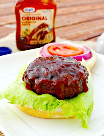 Bacon and Havarti Stuffed Barbecue Burgers ~ Succulent lean ground beef stuffed with bacon and havarti then smothered with tangy barbecue sauce.