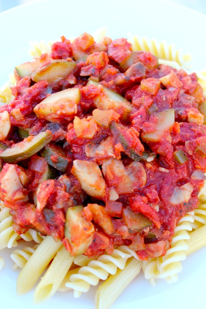 Close up view of Vegetable Marinara ~ The Complete Savorist