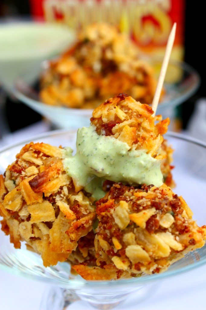 Cracker Chicken Bites - Bite-size chicken balls mixed with White Cheddar Crackers and poblano peppers, rolled in crushed crackers and bacon, baked until super crispy ~ The Complete Savorist