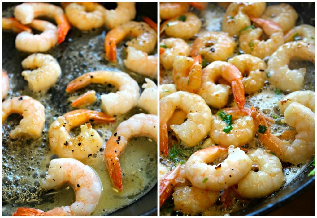 Cooking the shrimp for Lemon Garlic Shrimp Penne ~ The Complete Savorist