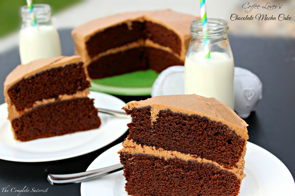 Chocolate Mocha Cake ~ Rich chocolate cake with a hint of coffee topped with a fluffy mocha buttercream, and by mocha, I mean MOCHA, full coffee flavor, not just a hint ~ The Complete Savorist