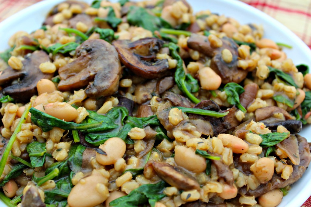 Barley Spinach and Mushrooms - Seasoned cooked barley stirred into sautéed mushrooms, caramelized onions, and white beans, finished with parmesan cheese with a hint of balsamic ~ The Complete Savorist