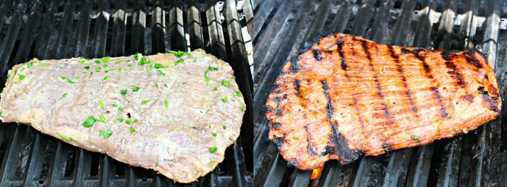 Grilling the Carne Asada ~ The quintessential Mexican beef dish that is marinated and seasoned then grilled to perfection ~ The Complete Savorist