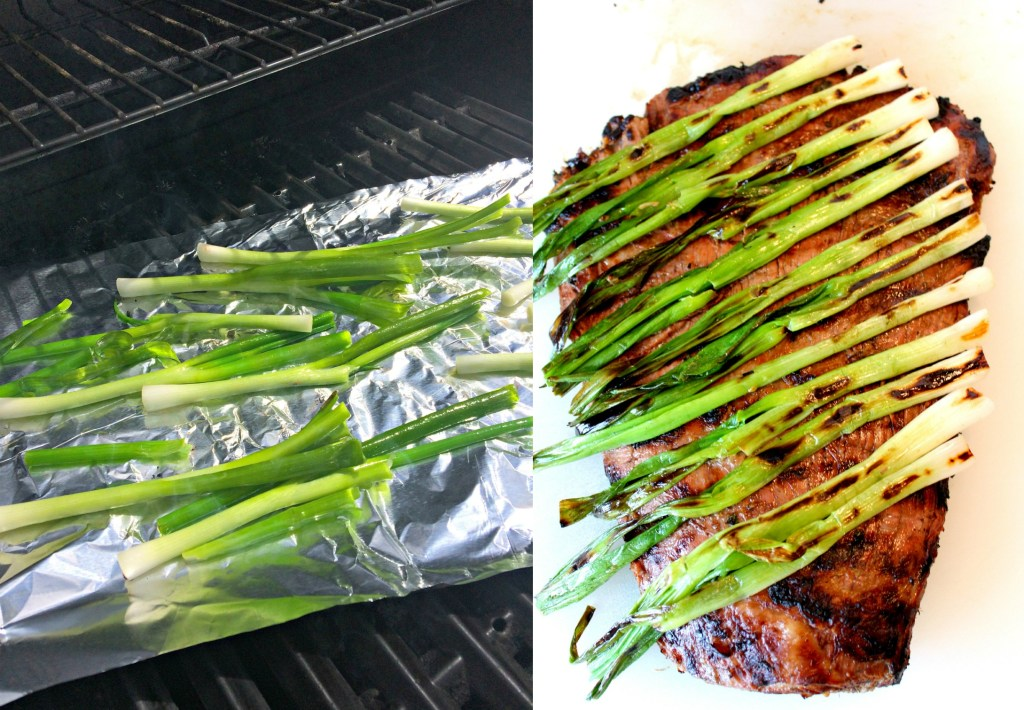 Grilling the green onions for Carne Asada ~ The quintessential Mexican beef dish that is marinated and seasoned then grilled to perfection ~ The Complete Savorist