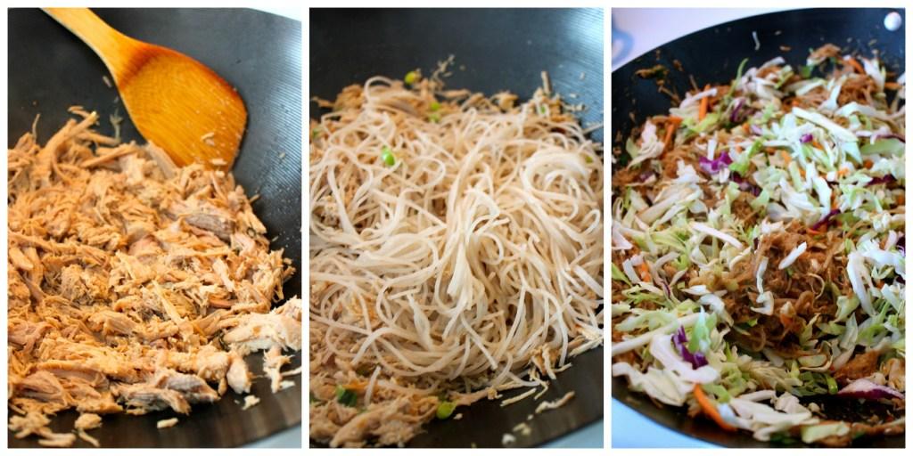 Stir frying the Hoisin Pork Noodle Bowl ~ The Complete Savorist