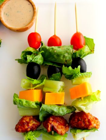 Barbecue Chicken Salad Skewers ~ The Complete Savorist