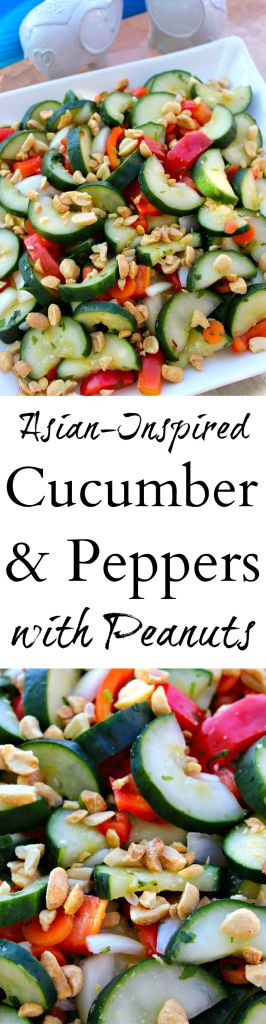 Asian-Inspired Cucumber and Peppers with Peanuts ~ Cucumbers, Onions, Red Bell Peppers, and Carrots tossed in an Asian-Inspired Vinaigrette and topped with crushed peanuts ~ The Complete Savorist