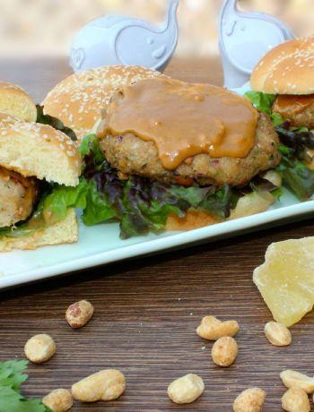 Chicken Satay Burger ~ The Complete Savorist #GameDayChef #ad