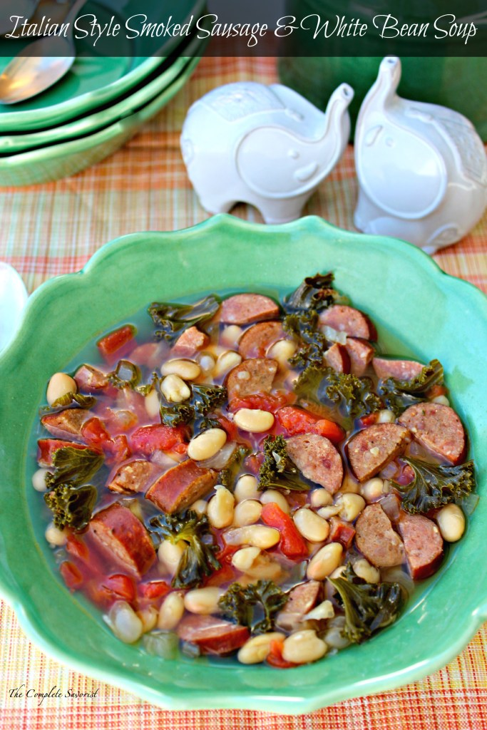 Italian Style Smoked Sausage and White Bean Soup~A hearty mixture of white beans, kale, and Italian style smoked sausage in a broth enhanced by rosemary and garlic ~ The Complete Savorist