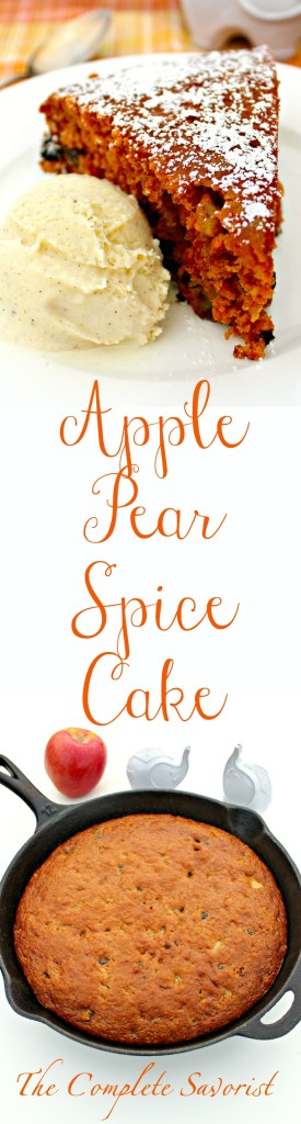 Apple Pear Spice Cake ~Warm spices, raisins, applesauce, and diced pears make a delicious autumn cake ~ The Complete Savorist #CampChef
