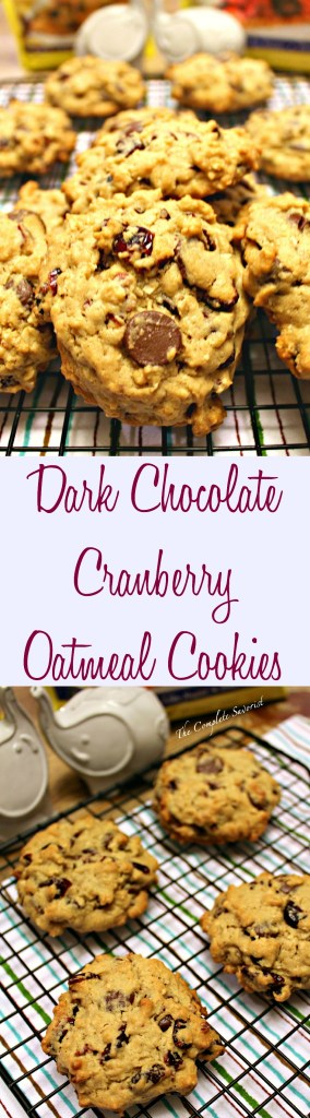 Dark Chocolate Cranberry Oatmeal Cookies ~ Oatmeal cookies baked using dark chocolate chips, dried cranberries, and Splenda~ The Complete Savorist #SplendaHoliday ad