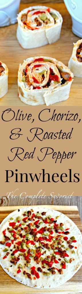 Olive, Chorizo, and Red Pepper Pinwheels ~ Classic appetizer made with a Spanish flare using garlic-herb creamy cheese spread thin on a flour tortilla and dotted with diced roasted red peppers, chorizo, and pimento stuffed Spanish Queen olives ~ The Complete Savorist