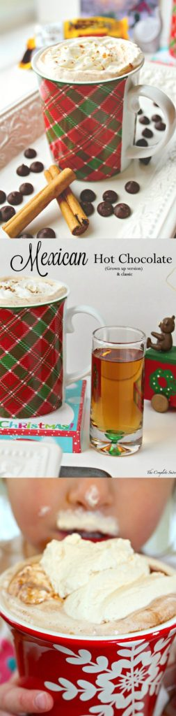 Mexican Hot Chocolate - 2 Ways ~ Homemade Mexican hot chocolate made using three simple ingredients: milk, dark chocolate, and cinnamon; topped with cinnamon whipped cream. Spike with cinnamon whiskey for the adults~ The Complete Savorist #HolidayRemix ad