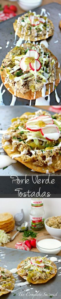 Pork Verde Tostadas ~ Slow cooked pork then quickly fried up carnitas-style, served on a crisp corn tortilla and topped with with cabbage, radishes, crema, and salsa verde ~ The Complete Savorist #HERDEZ #LasPosadas ad