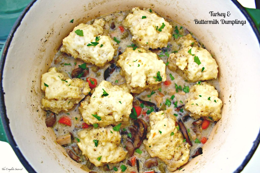 Turkey and Buttermilk Dumplings ~ Fluffy buttermilk dumplings in a rich, creamy broth made fragrant by carrots, celery, leeks, mushrooms, herbs, and leftover turkey ~ The Complete Savorist