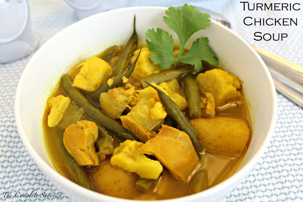 Turmeric chicken soup the complete savorist turmeric chicken soup slow cooked or not chicken soup brightly hued yellow by sciox Gallery