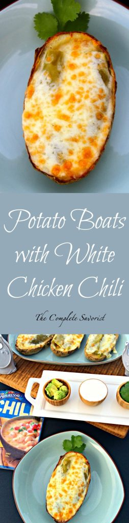 Potato Boats with White Chicken Chili ~ Hallowed out baked potatoes crisped perfectly and filled with White Chicken Chili, roasted green chilies, and topped with Monterrey Jack cheese ~ The Complete Savorist #ProgressoGameDay, #ProgressoChili