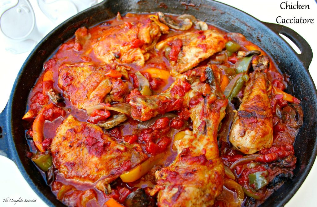 Chicken Cacciatore ~ Simple skillet dinner of chicken, onions, peppers, and mushrooms in an herbed diced tomatoes sauce ~ The Complete Savorist