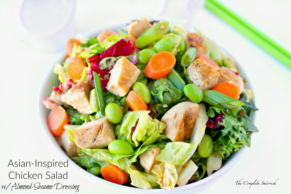 Asian-Inspired Chicken Salad with Almond-Sesame Dressing ~ Mixed greens, grilled chicken, edamame and more all tossed in tangy almond sesame dressing.