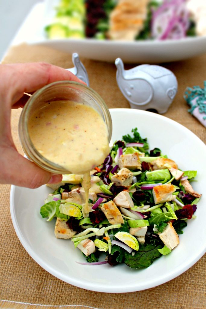 Grilled Chicken Salad with Creamy Hazelnut Vinaigrette ~ Mixed greens salad with Brussels sprouts, mushrooms, red onions, dried cranberries tossed in a creamy hazelnut vinaigrette ~ The Complete Savorist #IDSimplyPure ad