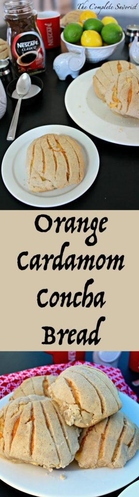 Orange Cardamom Concha Bread (Pan Dulce) ~ Traditional Mexican concha bread flavored with tangy orange, baked flakey and tender with a cardamom sugar topping ~ The Complete Savorist #MomentoNESCAFÉ ad